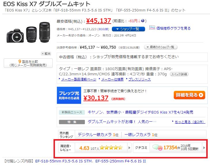 EOS Kiss X7 価格ドットコム レビュー