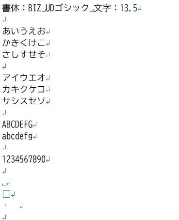 書体:BIZ UDゴシック 文字:13.5
